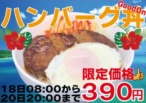 ハンバーグ丼 390円 限定価格 5月18日8:00から20日20:00まで ハンバーGoodon
