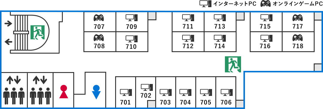 7F ファースト個室ブース(1~10禁煙/11~18喫煙/完全鍵付き個室)